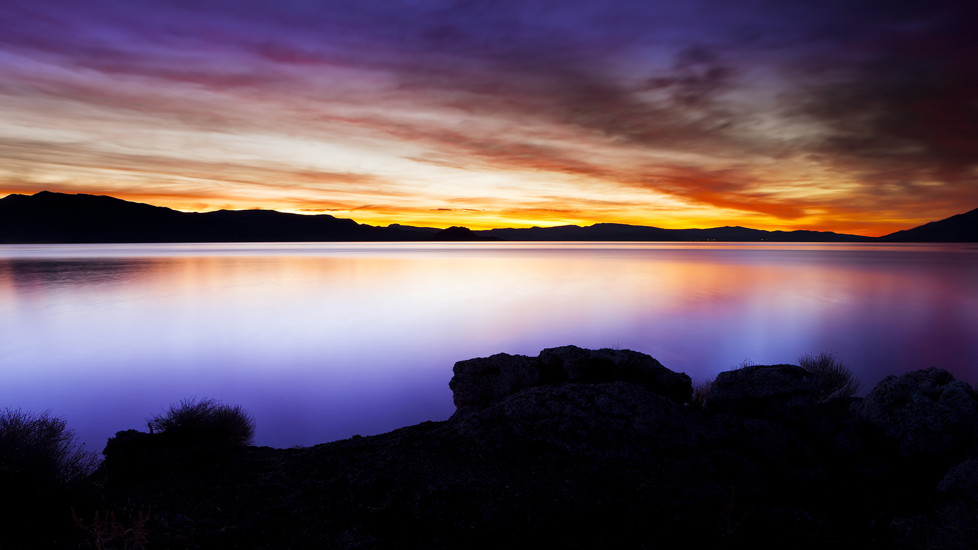 A sunset over Pyramid Lake in Reno, Nevada