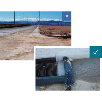 An example of sediment on the roadway versus an example of sediment control