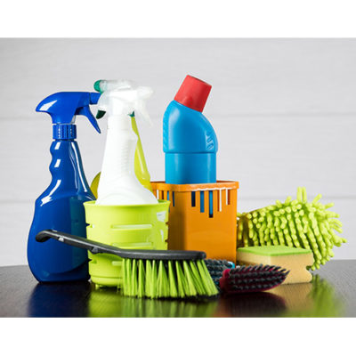 Household chemical cleaning bottles and scrub brushes