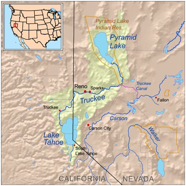 Map of the Truckee River and surrounding water bodies in Nevada